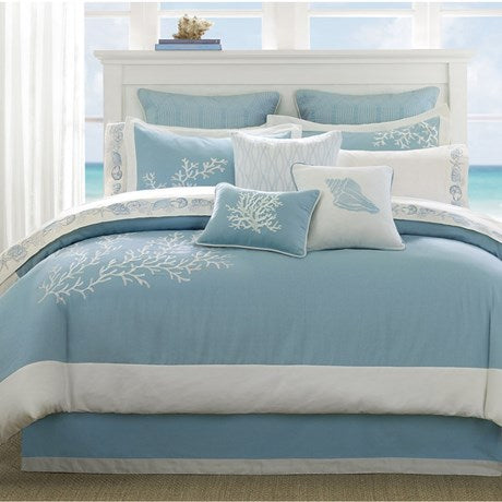 Coastline Comforter Cal King Set - Blue-Nautical & Coastal Beach Bedding-Nautical Decor and Gifts