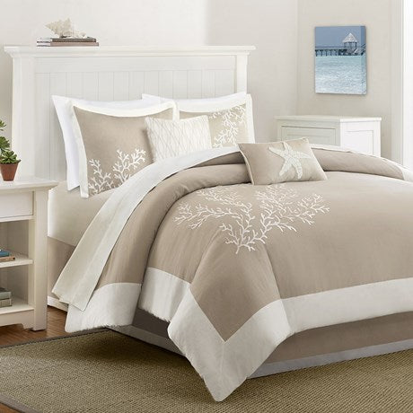 Coastline 6 Piece Comforter Set - Beige-Nautical & Coastal Beach Bedding-Nautical Decor and Gifts