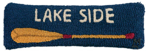 "Lakeside Oar 8"" x 24"" Hooked Pillow"