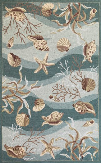 Sonesta Seafoam Shells Rug-Nautical Decor and Gifts