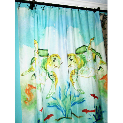 Beach Shower Curtain with Sea Turtles-Beach Shower Curtains & Bath Sets-Nautical Decor and Gifts