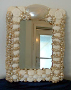 Wedding White Seashell Mirror