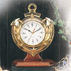 Brass Anchor Clock w/ Base