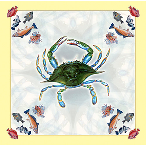 Beach Shower Curtain with Crab Design