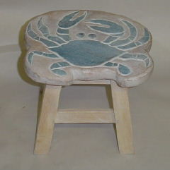 Wooden Stools with Sealife Designs-Coastal Living Furniture-Nautical Decor and Gifts