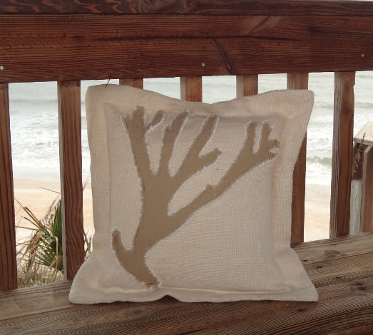 Kahki Coral Sea Pillow-Nautical Decor and Gifts