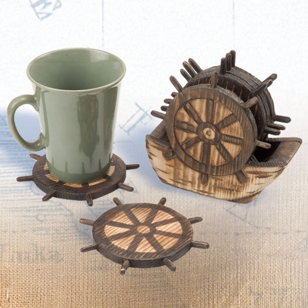 Shipwheel Wooden Coasters 4/set