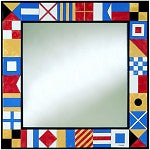 Nautical Flag Mirror - Made w/ Hand Painted Ceramic Tiles