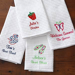 Embroidered  Kitchen Towels - Set of Two