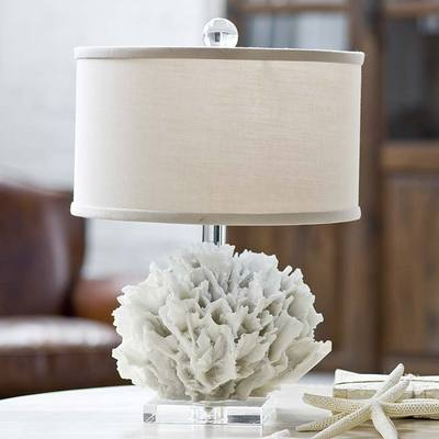 White Ribbon Coral Beach Decor Lamp