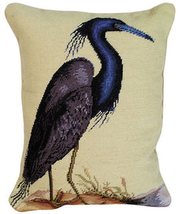 "Blue Heron 16"" x 20"" Needlepoint Pillow"