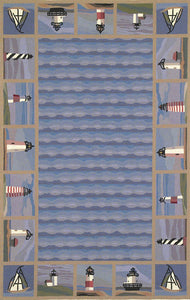 Lighthouse Waves Rug-Nautical Decor and Gifts