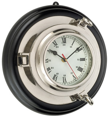 Brass Porthole Clock Nickel Finish