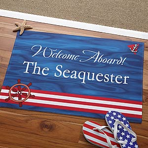 Personalized 'Welcome Aboard' Doormat-Yacht Interior Decor-Nautical Decor and Gifts