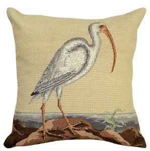 "White Curlew 18""x18"" Petit Point Pillow"