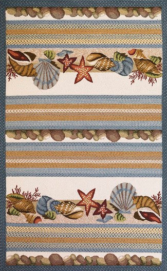Seashells Ivory-Blue Area Rug
