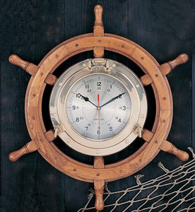 "24"" Porthole Wheel Clock-Ships Wheel Nautical Clocks-Nautical Decor and Gifts"