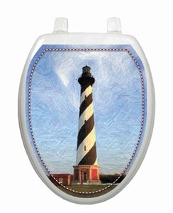 Hatteras Toilet Lid Tattoo-Beach Shower Curtains & Bath Sets-Nautical Decor and Gifts
