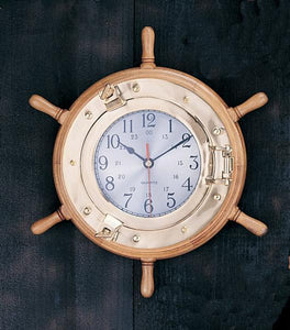 "13"" Port Hole Wheel Clock-Ships Wheel Nautical Clocks-Nautical Decor and Gifts"