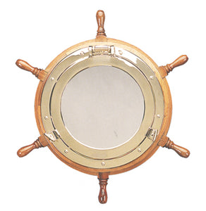 Ship Wheel Porthole Mirror