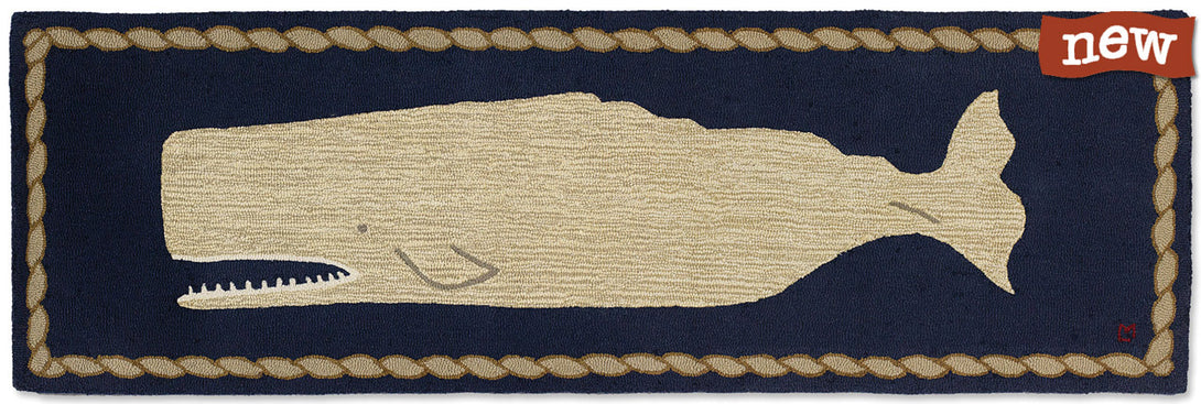 Moby Dick White Whale on Blue Rug Runner