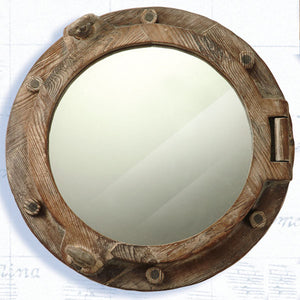 "17"" Wooden Porthole Mirror-Nautical Decor and Gifts"