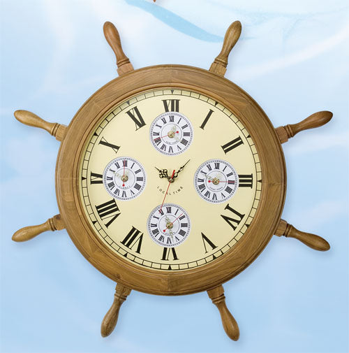Shipwheel World Clock-Ships Wheel Nautical Clocks-Nautical Decor and Gifts