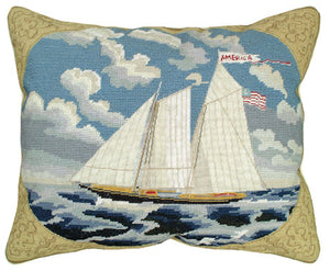 "America 16"" x 20"" Mixed Stitch Pillow-Nautical Decor and Gifts"