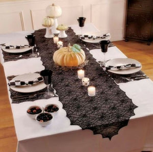 Black Lace Spider Web Tablecloth