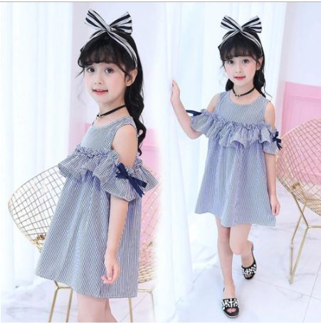 Summer Girls Flying Sleeve Dress Up to 7 Years