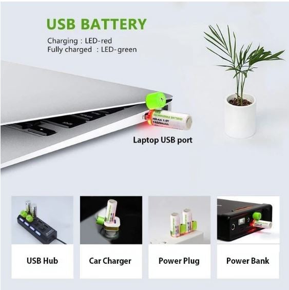 (50% OFF)USB Rechargeable AA Batteries