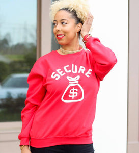 """Secure the Bag"" Sweatshirt- Red"