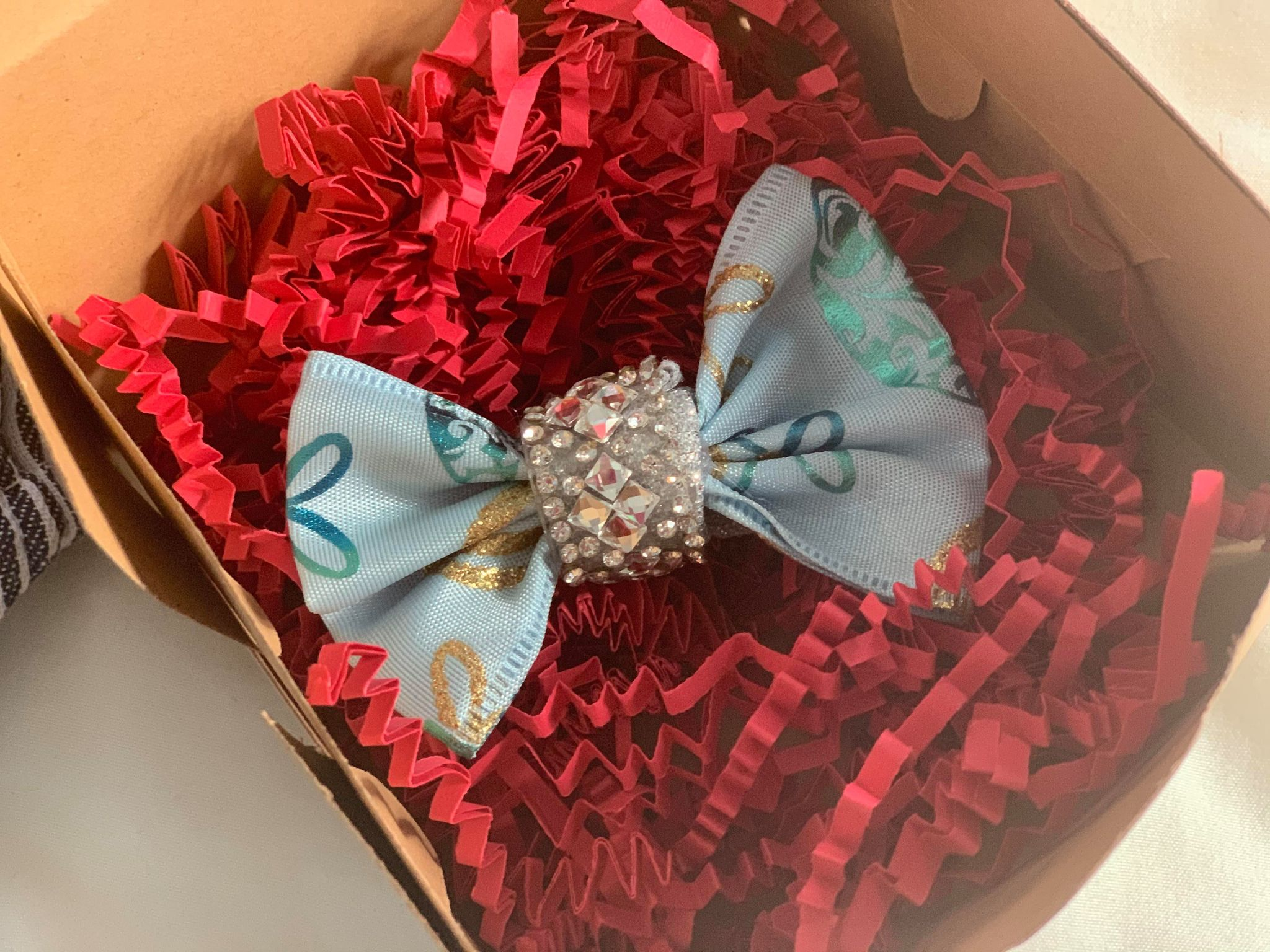aqua Christmas bow hair clip