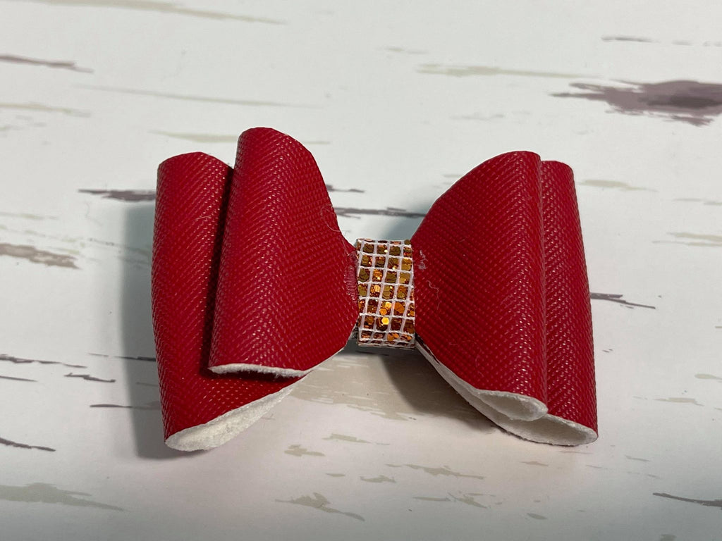 Red leather bow hair clip