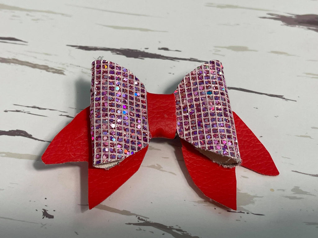 Pink & red Leather bow hair clip