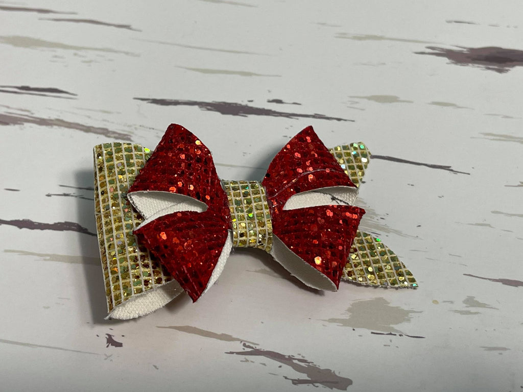Red & Gold leather bow hair clip