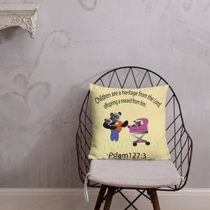 Open image in slideshow, Panda family with verse pslam 127:3  Premium Pillow