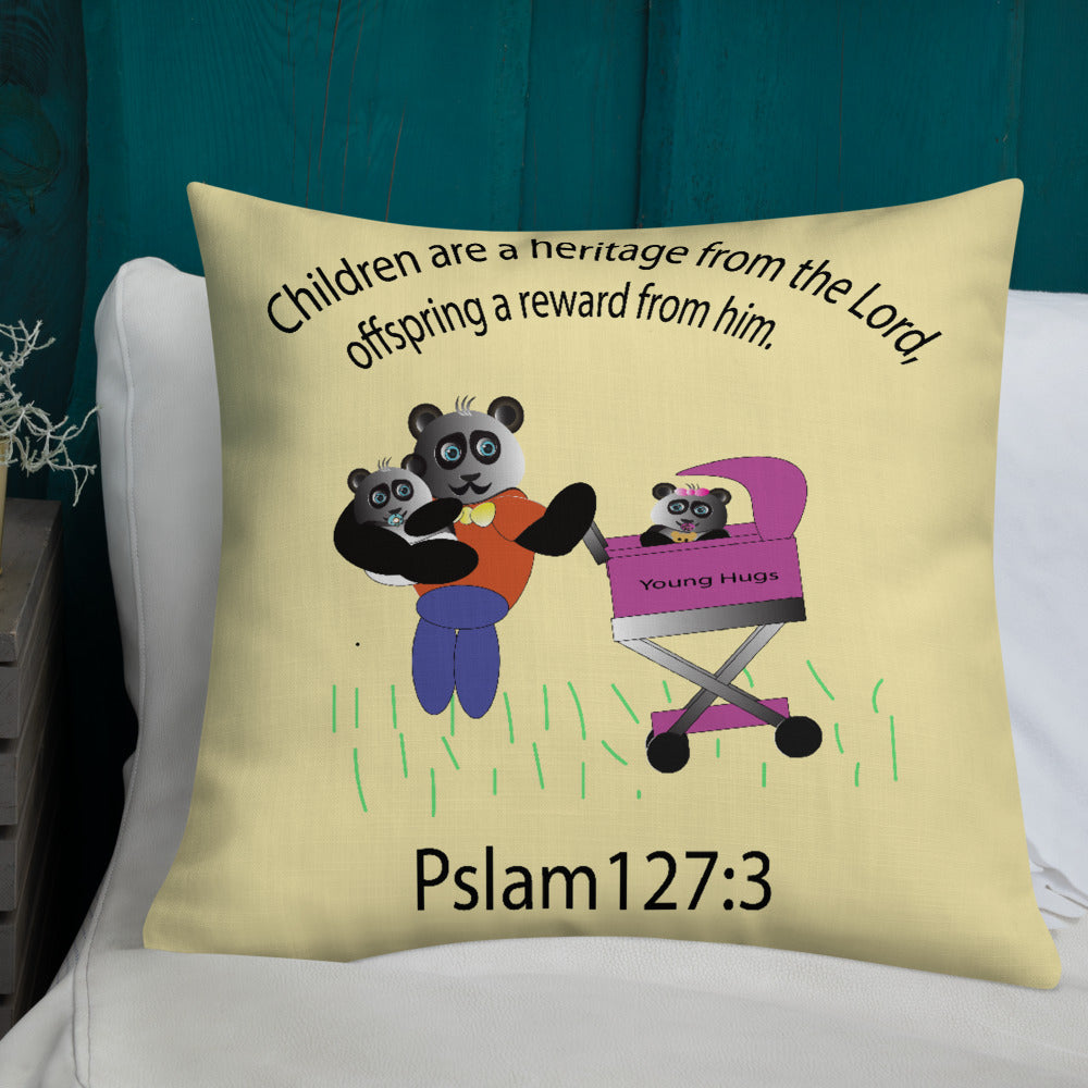 Panda family with verse pslam 127:3  Premium Pillow