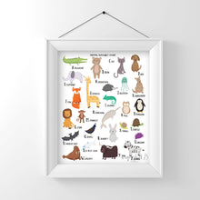 Load image into Gallery viewer, Animal Alphabet Chart A-Z,  art print, illustration, typography, animals, nursery art