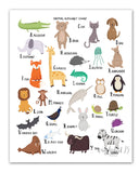 Animal Alphabet Chart A-Z,  art print, illustration, typography, animals, nursery art