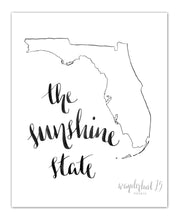 Load image into Gallery viewer, The Sunshine State, art print, calligraphy, typography, florida state, state print