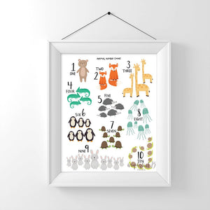Animal Number Chart 1-10,  art print, illustration, typography, animals, nursery art