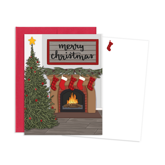 CHRISTMAS FIREPLACE  NOTE CARDS