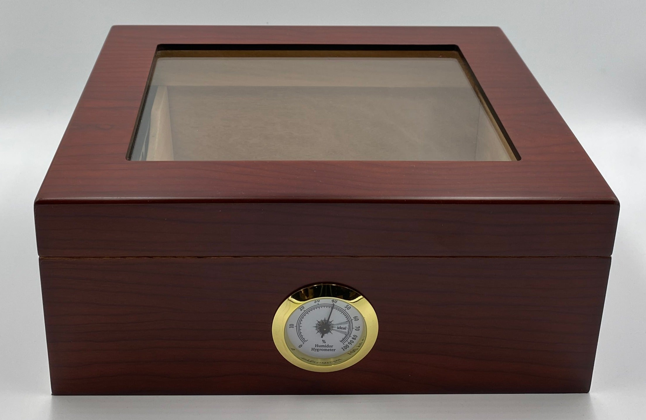 Artisan Cherry Glass Top 50+  Cigar Capacity Humidor + Includes a Complimentary Bottle of our Humidor Solution ( $16.99 473ml) and a Double Cigar Telescopic Leather Cigar  ($24.99), INCLUDED with the Humidor a $41.98 Value.