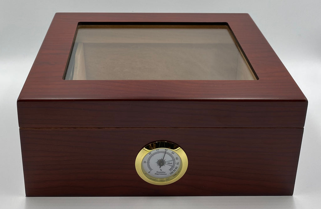 Artisan Cherry Glass Top 50+ Cigar Capacity Humidor + Includes a Complimentary Bottle of our Humidor Solution ( $16.99 473ml) and a Double Cigar Telescopic Leather Cigar ($24.99), INCLUDED with the Humidor a $41.98 Value. - The Smokin' Cigar Inc. The Smokin' Cigar Humidors
