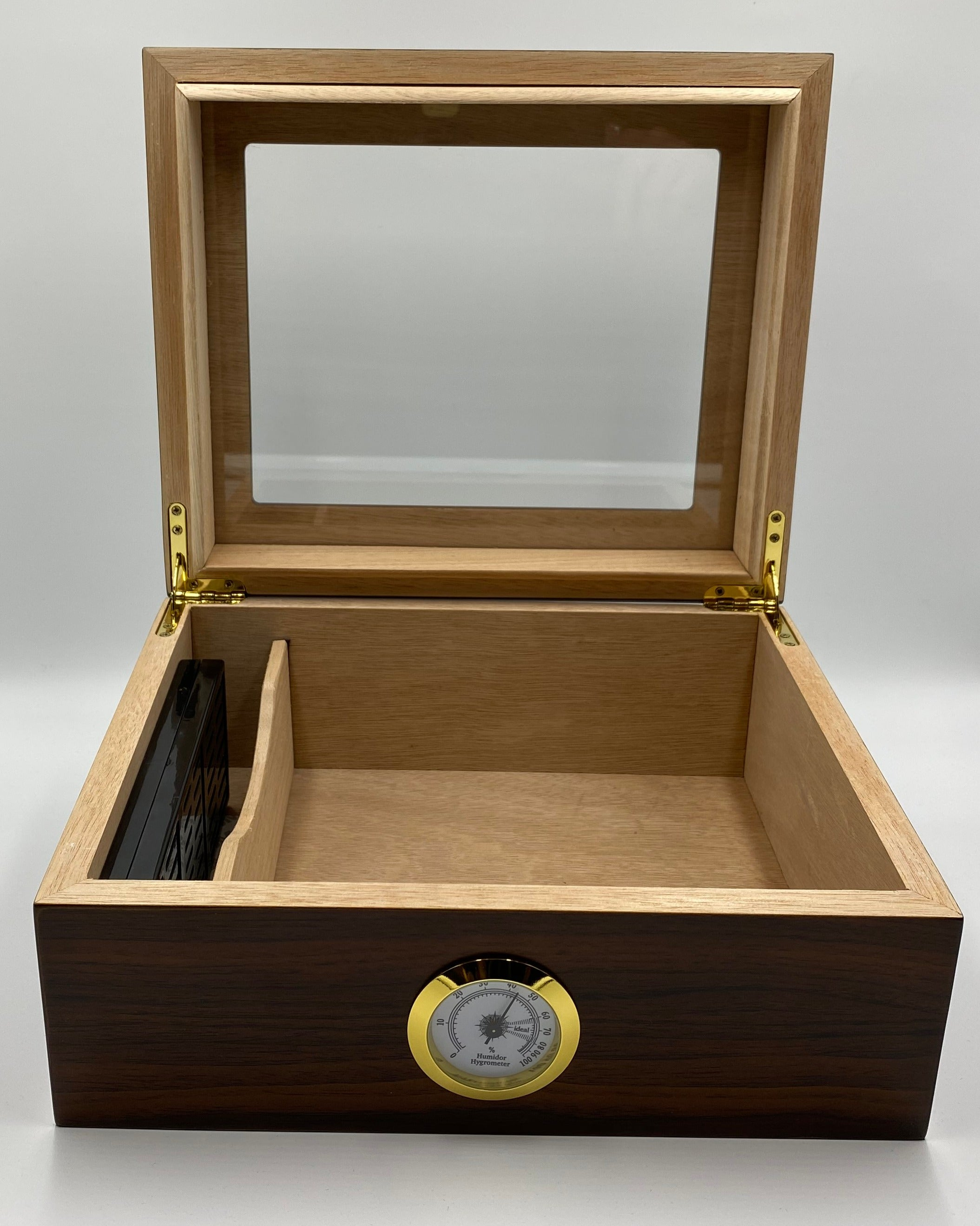 Artisan Walnut 50+  Cigar Capacity Glasstop Humidor+ Receive $41.98 in FREE Goods with Purchase!*