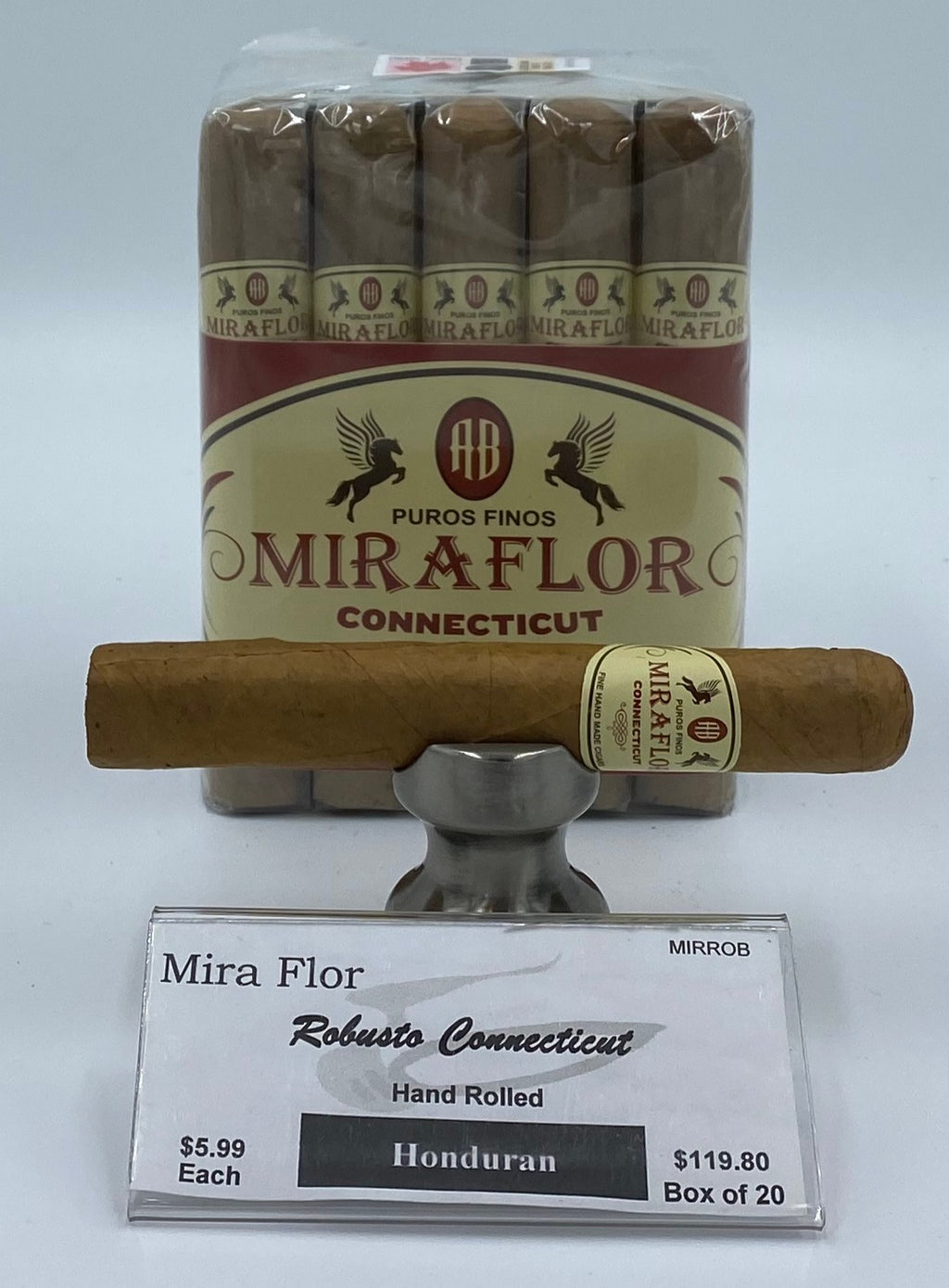A Bundle of 20 Alec Bradley Mira Flor Robusto Connecticut. Pay ONLY $5.39 per Cigar. Sorry NOT eligible for FREE mail order shipping,Free Local Home Delivery available.
