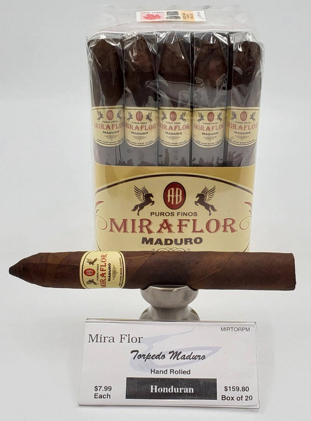 A Bundle of 20 Alec Bradley Mira Flor Torpedo Maduro. Pay ONLY $7.19 per Cigar. Sorry NOT eligible for FREE mail order shipping,Free Local Home Delivery available.