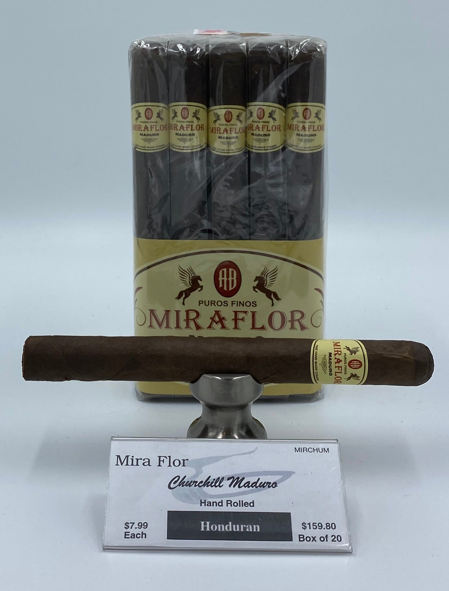 A Bundle of 20 Alec Bradley Mira Flor Churchill Maduro. Pay ONLY $7.19 per Cigar. Sorry NOT eligible for FREE mail order shipping,Free Local Home Delivery available.