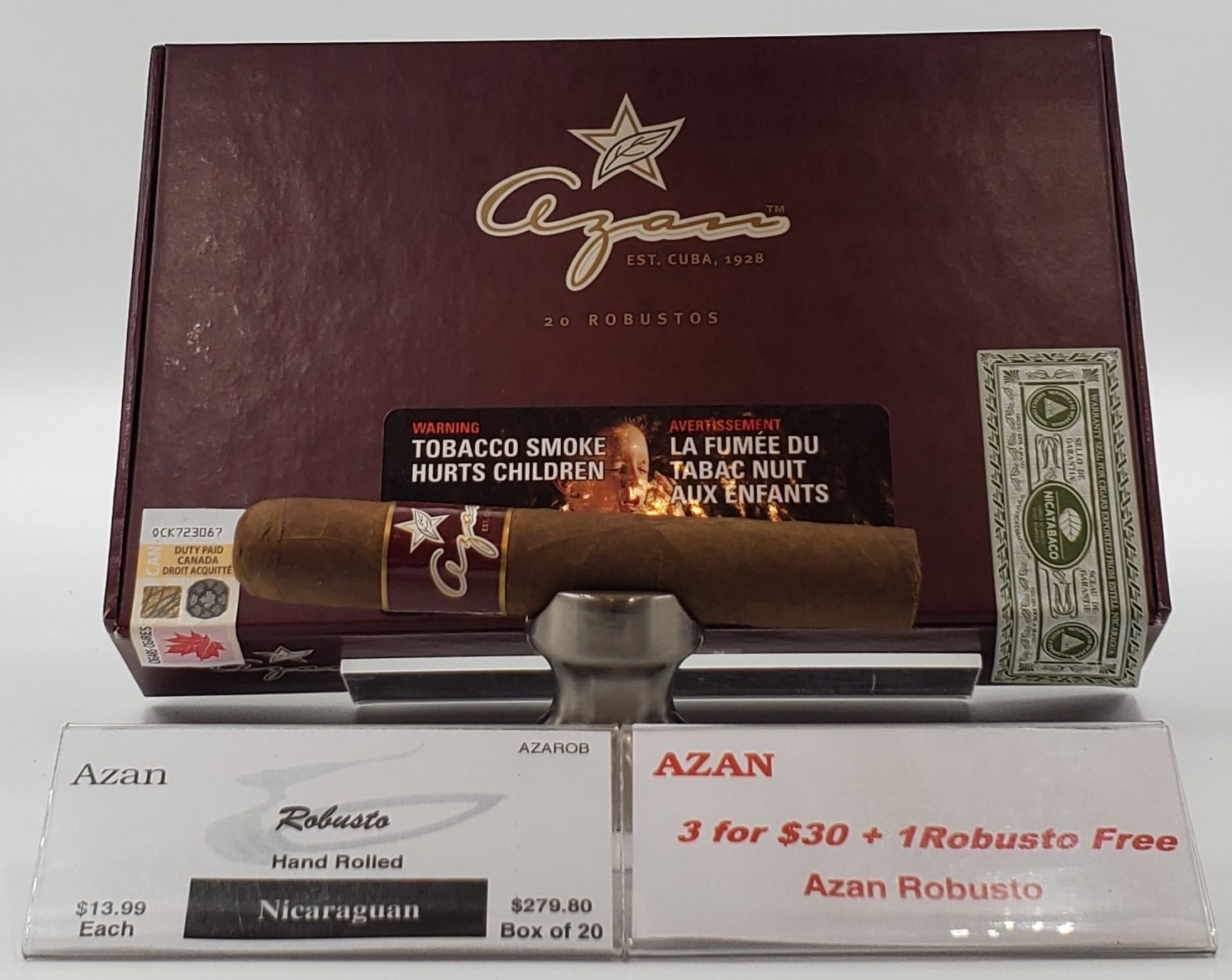 3 AZAN Nicaraguan Robustos for $30.00 & the 4th is a Penny!..Sorry NOT eligible for free mail order shipping. Free Local Home Delivery Available.